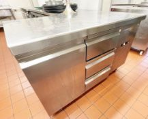 1 x Commercial Refrigerated Prep Counter With Single Door and Three Drawers - Stainless Steel