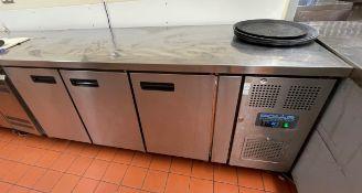 1 x Polar G597 Three Door Countertop Refrigerator RRP £1,300 - Dimensions: H86 x W180 x D70 cms -