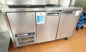 1 x Williams Two Door Commercial Refrigerated Prep Counter With Stainless Steel Exterior- Ref: