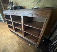 1 x Solid Wood Reception Desk With Storage Shelving - Ref: BLVD123 - CL649 - Location: London W8 *