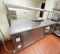 1 x Commercial Kitchen Plate Warming Cabinet With Large Preparation Area and Overhead Food Warming