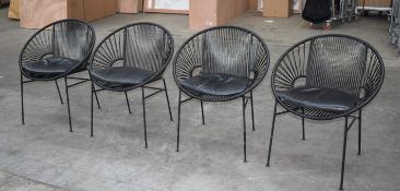 4x Innit Designer Chairs -Acapulco Style Chairs in Black Suitable For Indoor or Outdoor Use -