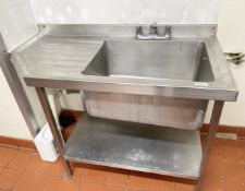 1 x Stainless Steel Commercial Sink Basin With Anti-Spill Surface, Large Sink Bowl, Mixer Taps,