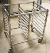 1 x Grundy Stainless Steel 14 Tier Side by Side Mobile Tray Stand - Unused - Ref JP137 WH2 -