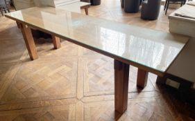 1 x Wooden 2.3 Metre Long Glass Topped Table - Dimensions: W243.5 x 68.5 x H71.5cm- Ref: BLVD112 -