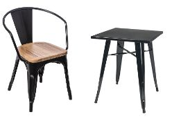 4 x Industrial Style Outdoor Chairs With Armrests and Wooden Seats - Metal Stacking Chairs in Black