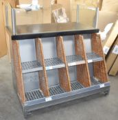 1 x Service Counter With Front Display Shelves, Rear Stainless Steel Storage Shelf & Glass Divider