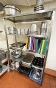 1 x Stainless Steel Commercial Kitchen Shelving Unit - Contents Not Included - Dimensions: H179 x
