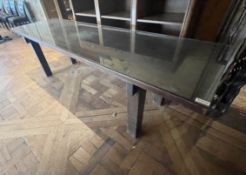 1 x Wooden 2.3 Metre Long Glass Topped Table - Dimensions: W243.5 x 68.5 x H71.5cm - Ref: