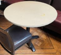 8 x Large Round Commercial Restaurant Tables Upholstered Leather - 2 x Sizes Supplied - Ref: BLVD107