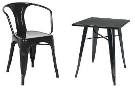 1 x Tolix Industrial Style Outdoor Bistro Table and Chair Set in Black - Includes 1 x Table and 3