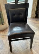 10 x Leather Upholstered Bistro Wooden Dining Chairs - Ref: BLVD106 - CL649 - Location: London W8 *