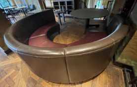 1 x C-Shaped Leather Upholstered Banquet Seating Bench In Brown And Red- Ref: BLVD124 - CL649 -
