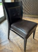 15 x Leather Upholstered Bistro Wooden Dining Chairs - Ref: BLVD106 - CL649 - Location: London W8