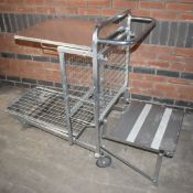 1 x Supermarket Retail Merchandising Trolley With Pull Out Step and Folding Shelf - Dimensions: