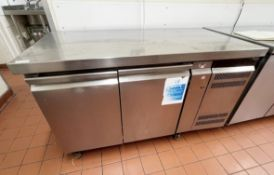 1 xGram GASTRO KB1407A Stainless Steel Refrigerated Two Door Prep Counter - 240v Power -