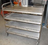 1 x Grundy Commercial Kitchen Mobile Service Trolley With Four Shelves - Stainless Steel With