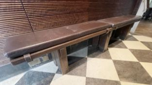 1 x Solid Wood 2.5 Metre Long Seating Bench With Leather Upholstered Seat Pads - Dimensions: 32.5