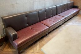 2 x Leather Upholstered Banquet Seating Benches In Brown And Red - Ref: BLVD115 - CL649 -