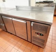 1 x Interlevin Two Door Commercial Refrigerated Prep Counter With Stainless Steel Exterior- Ref: