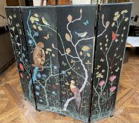 1 x Vintage 4-Panel Hand-painted Room Divider / Dressing Screen In Black With Plant And Animal