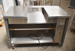 1 x Grundy Commercial Mobile Servery Unit With Stainless Steel Top Featuring Insert For Appliance or