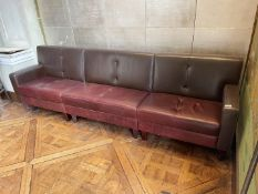 1 x Leather Upholstered Banquet Seating Bench In Brown And Red - Ref: BLVD105 - CL649 - Location:
