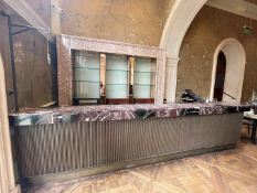1 x Marble Topped 4.6 Metre Long Bar Front Counter With Stainless Steel Area - Ref: BLVD101 -