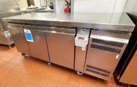 1 xGram GASTRO KB1807A Stainless Steel Refrigerated Three Door Prep Counter - 240v Power -