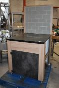 1 x Modern Coffee Machine Stand With Undercabinet Storage and Tiled Back - Size H91 x W80 x D87