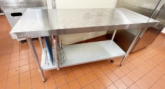 1 x Vogue Stainless Steel Prep Table With Undershelf - Dimensions: H90 x W150 x D60 cms - Ref: