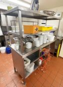 1 x Stainless Steel Passthrough Prep Bench For Commercial Kitchens - Dimensions: H160 x W160 x D60