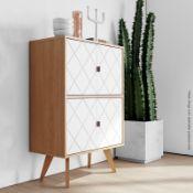 1 x 'Brigitte' Stylish 4-Door Cupboard With Geometric Etched Door - RRP £745.00