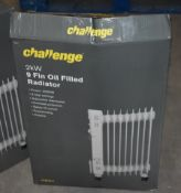 1 x Challenge 2kW 9 Fin Oil Filled Radiator With Three Heat Settings - Ref JP514 WH2 - NO VAT ON THE