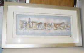 1 x Framed Original Mixed Media Artwork 'Mouillage De Bateau I' By Kevin Blackham - Signed / Mounted