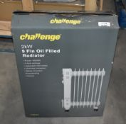 1 x Challenge 2kW 9 Fin Oil Filled Radiator With Three Heat Settings - Ref JP516 WH2 - NO VAT ON THE