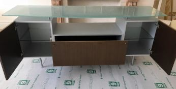 1 x Long Frosted Glass Topped Sideboard - Dimensions: H82 x W200 x D56cm - From An Exclusive