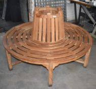 1 x Teak Outdoor Round Garden Bench - Comes in Two Pieces Which Can Bed Used Individually or
