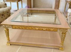 1 x Hand Carved Coffee Table Complimented With Birchwood Veneer, Golden Pillar Legs, Carved Wing
