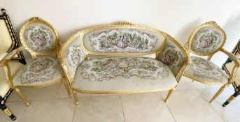 1 x Louis XVI French Style Three-Piece Salon Suite With Tapestry Upholstery and Carved Gold