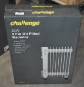1 x Challenge 2kW 9 Fin Oil Filled Radiator With Three Heat Settings - Ref JP513 WH2 - NO VAT ON THE