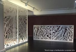 A Set Of 2 x Elegant 'Miles and Lincoln' Laser Cut Metal Room Divider Panels In A Feather Design -