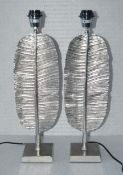 """A Pair Of """"Feather"""" Metal Bedside Lamps In A Silver Finish - From An Exclusive Property In Hale"""