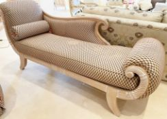 1 x Elegant Chaise Longue Sofa With Carved Wooden Frame, Scroll End and Diamond Pattern Fabric - NO