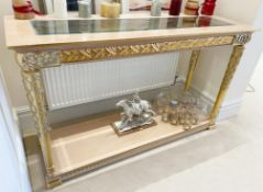 1 x Hand Carved Ornate Console Table Complimented With Birchwood Veneer, Golden Pillar Legs,