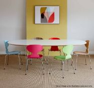 1 xFREEFORMPiet /Hansen Inspired Super Ellispe-Style 220cm Dining Table In White With Metal