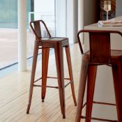 4 x Industrial Tolix Style Stackable Bar Stools With Backrests - Finish: COPPER - Ideal For Bistros,