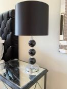 Pair of Table Lamps With Elegant Black Glass Bases and Black Drum Shades - Height 57 cms - NO VAT ON