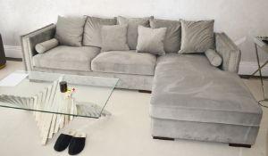 1 x Contemporary Belgium Chaise Longue Grey Velvet Corner Sofa - RRP £4,000 - NO VAT ON THE HAMMER!