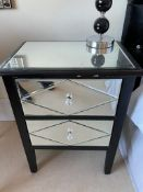 2 x Mirrored Bedside Tables Black Finish - Size: H67 x W51 x D35 cms - NO VAT ON THE HAMMER -